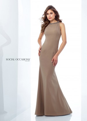 Social Occasions by Mon Cheri 118878 Drape Back Formal Gown