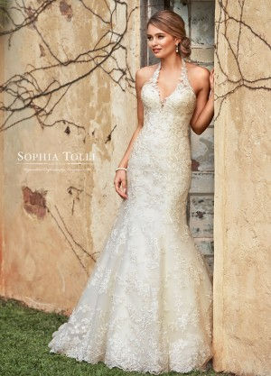 293c43c5dec Sophia Tolli Y11942 Marnie Halter Neck Wedding Gown