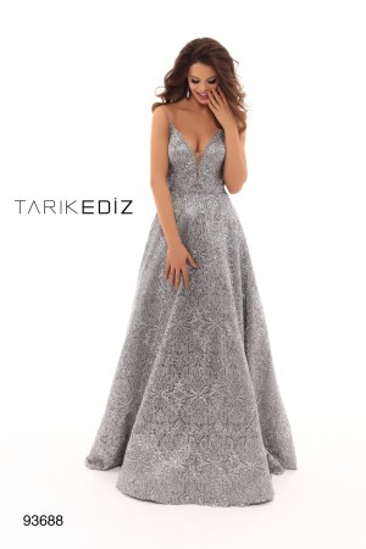 c7af6198975 Tarik Ediz 93688 Embroidered A-line Formal Gown