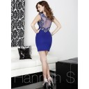 Hannah S 27047 Sheer Decollete Dress