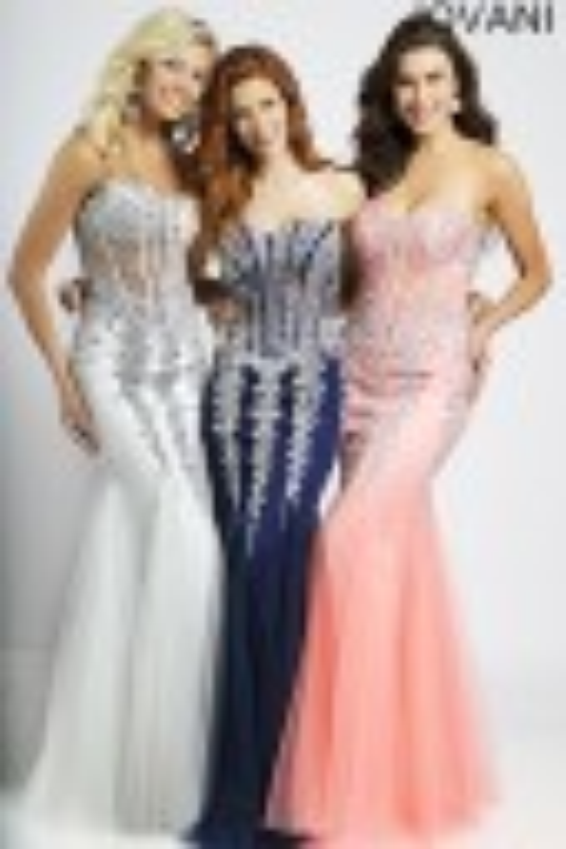 Jovani 5908 Strapless Corset Top Sheer Midriff Basque Waist Godet Trumpet Skirt Mermaid Silhouette