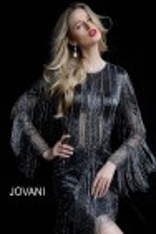 Jovani 61636 Long Sleeve Fringe Cocktail Dress