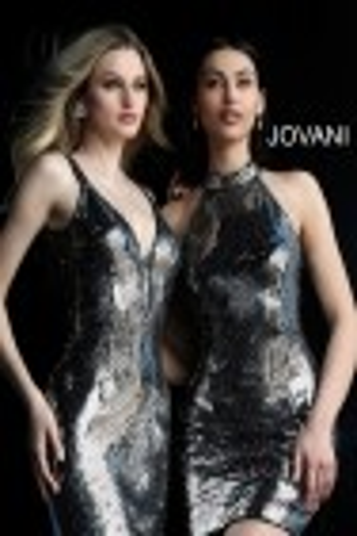 Jovani 65169 Plunging Neckline Sequin Short Dress