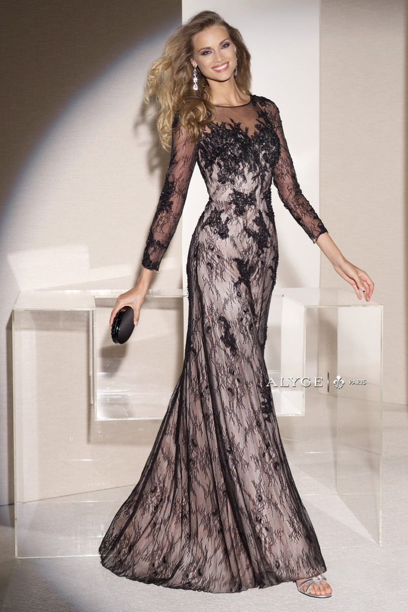 Jean De Lys 29743 Sheer Sleeves Fit And Flare Lace Gown ...