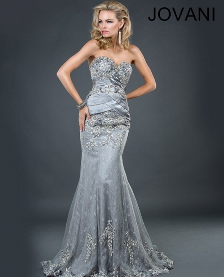 Jovani 1921 Beaded Strapless Sweetheart Bust Lace Appliques Tiered ...