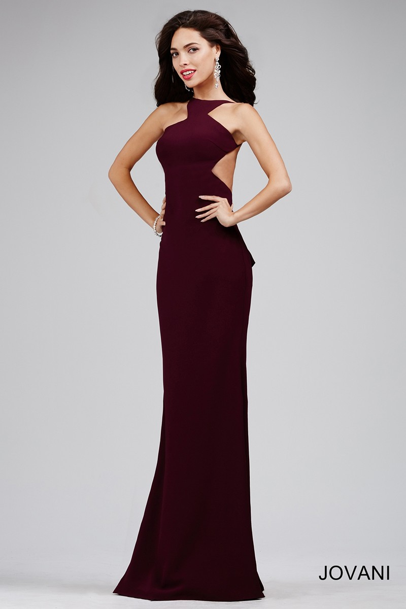 Jovani 22696 Dress Jersey Fit And Flare Halter Neck Open