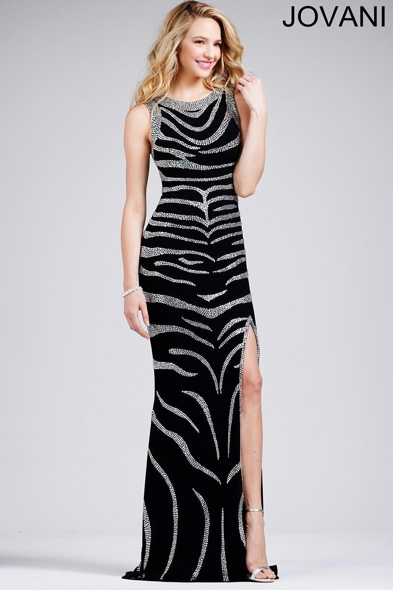 Jovani 28808 Dress Jersey Jewel Neck Sleeveless Tiger