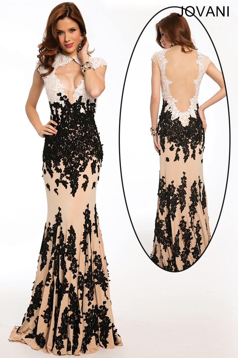 Jovani 3048 Fit And Flare Jewel Neckline Exposed Decolletage Scalloped Lace Cutout