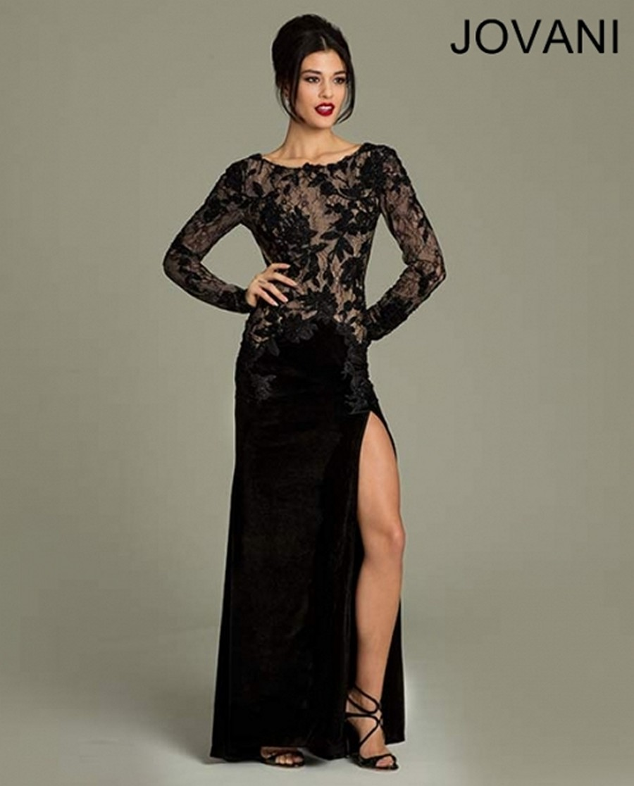Jovani 74199 Long Sleeves Lace Appliques Velvet Thigh High