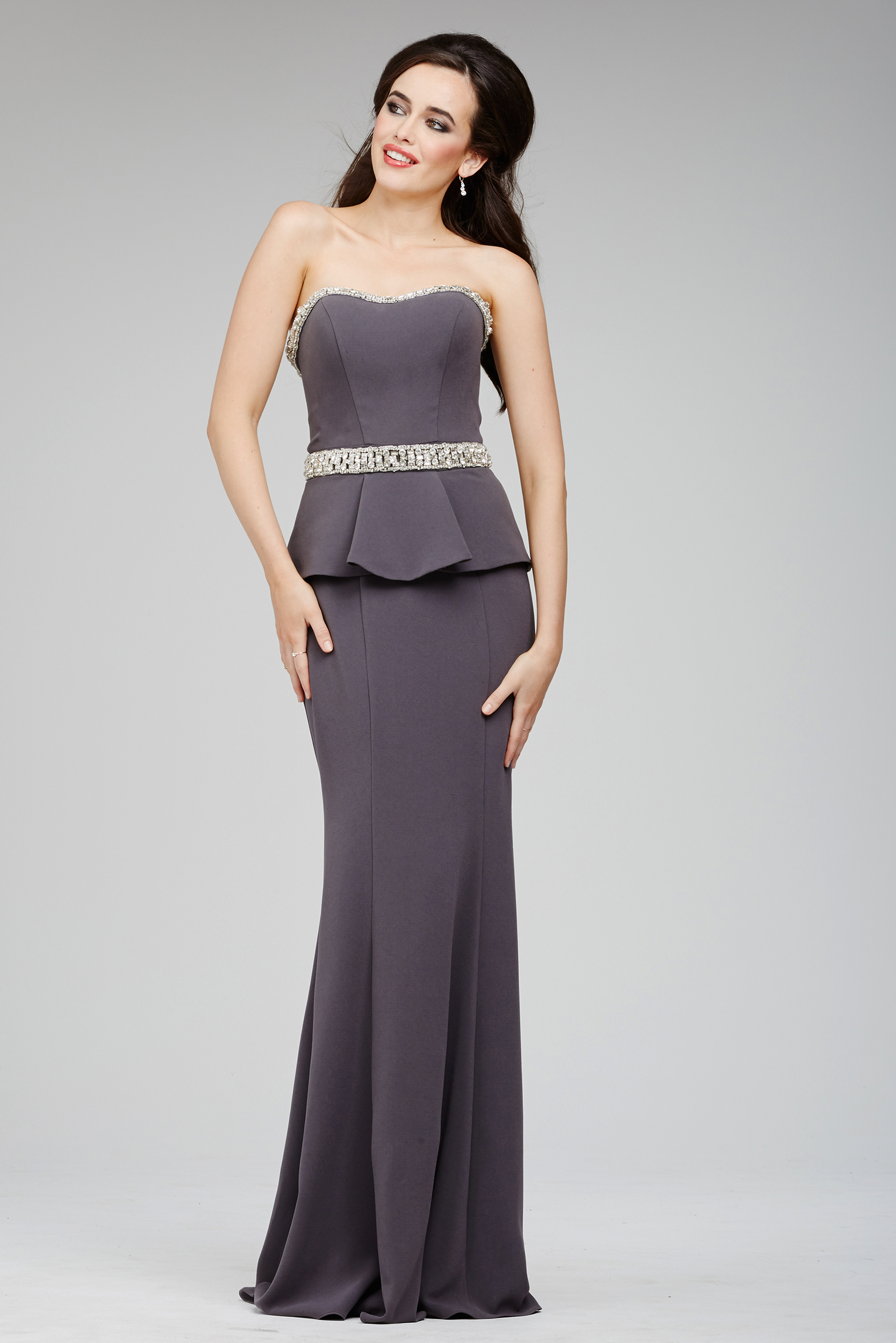 Jovani 98012 Evening Dress Strapless Bejeweled Neckline Peplum ...