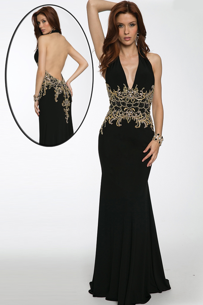 Jovani 98692 Halter Neck Open Back Gold Beaded Waist
