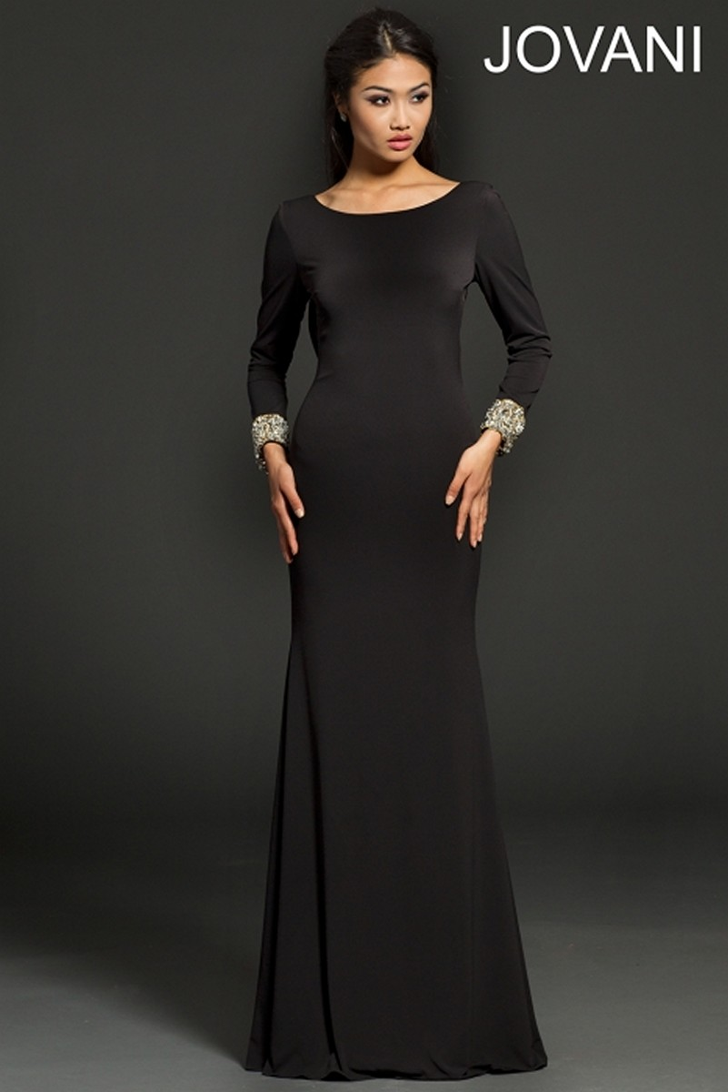 Jovani 99893 Scoop Neck Long Sleeves Open Back Fit And Flare ...