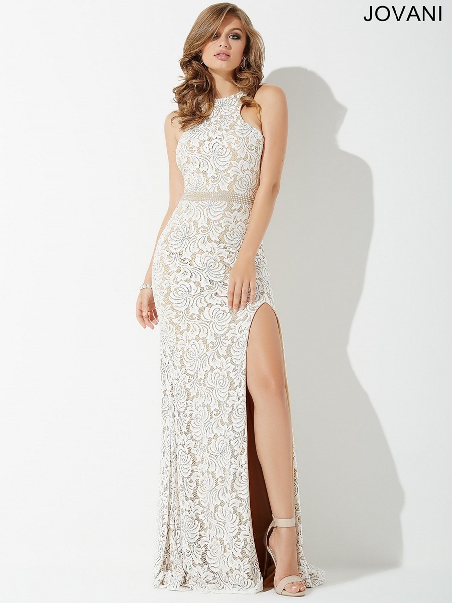 Jovani JP35131 Fitted Lace Prom Dress | MadameBridal.com