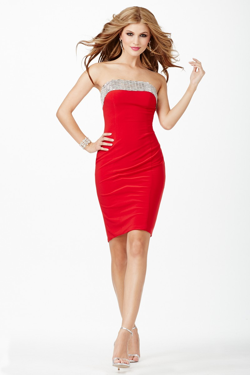 Jovani JVN26926 Red Fitted Cocktail Dress | MadameBridal.com