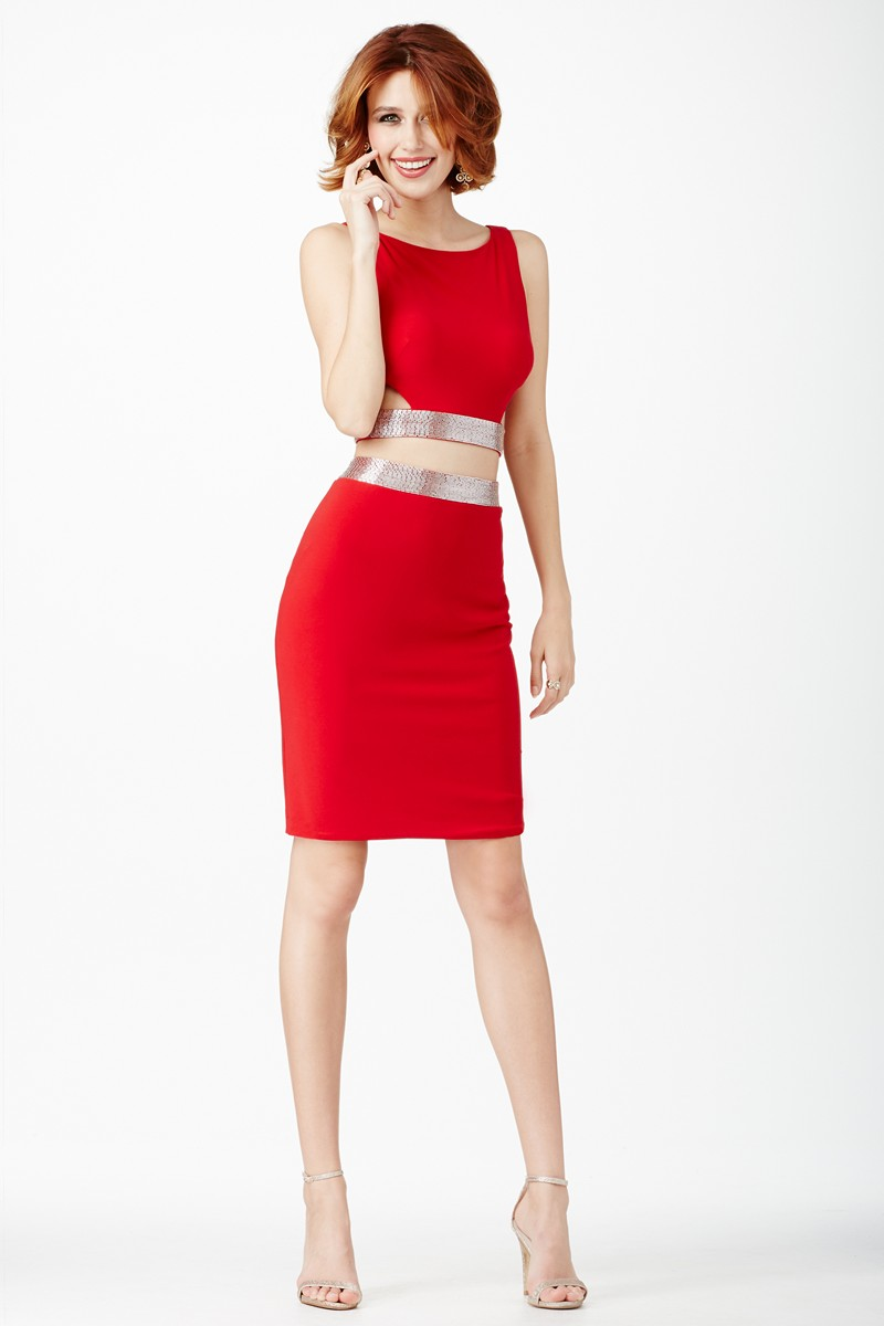 Jovani Jvn27184 Two Piece Red Homecoming Dress
