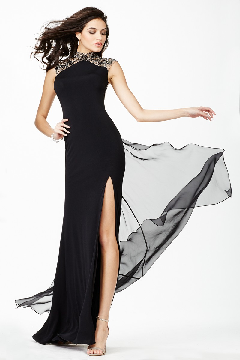 Jovani Jvn27497 Evening Dress Jersey Mandarin Collar Thigh