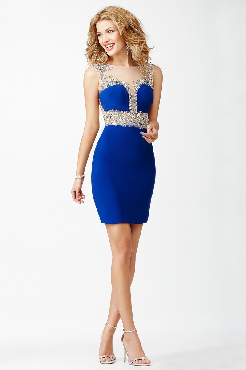 Jovani Jvn27592 Blue Fitted Homecoming Dress
