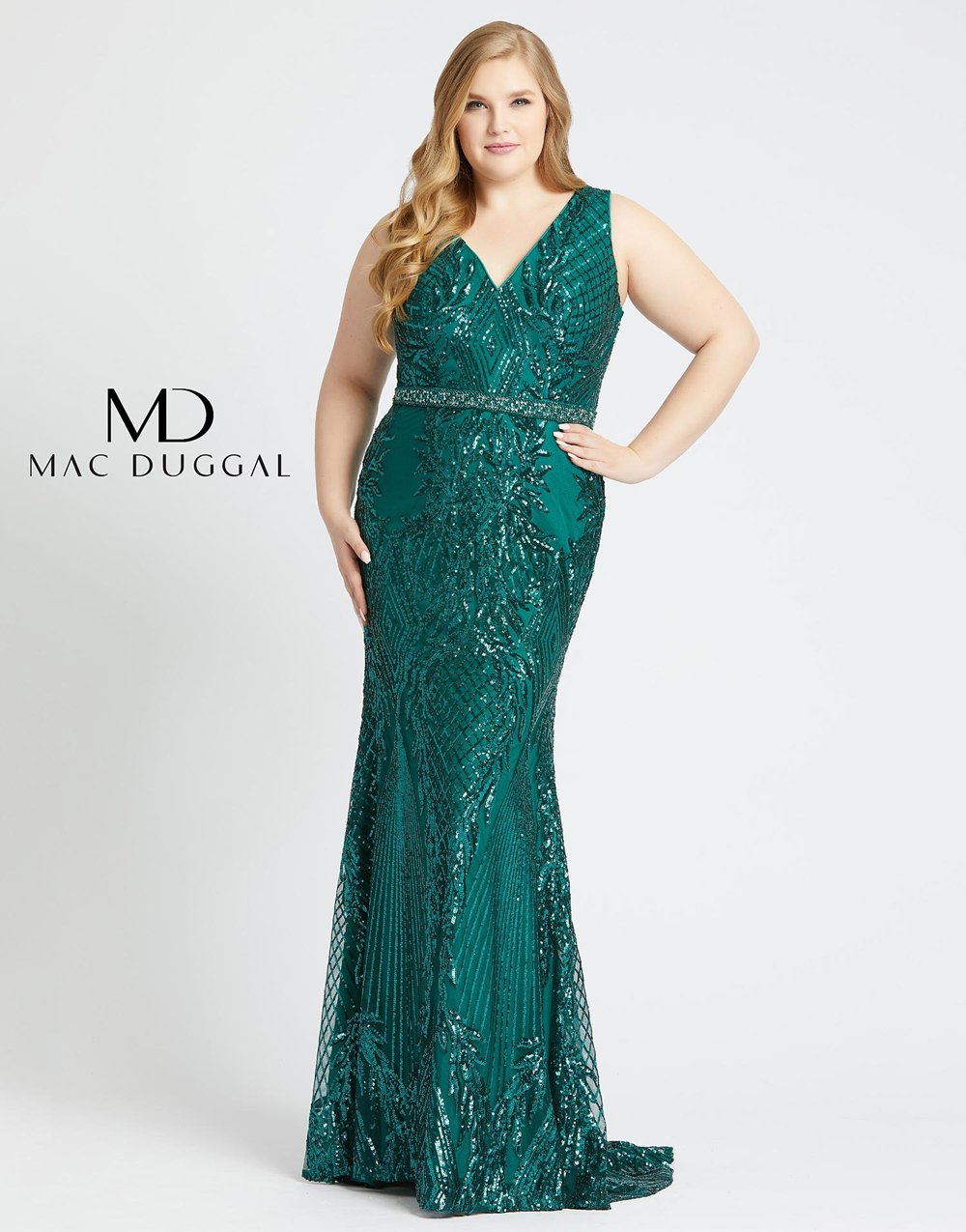 Mac Duggal 77670F V-Neck Plus Size Gown
