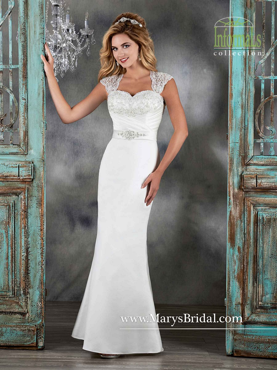 Marys Bridal 2579 Satin Queen Anne Neckline Cutout Back