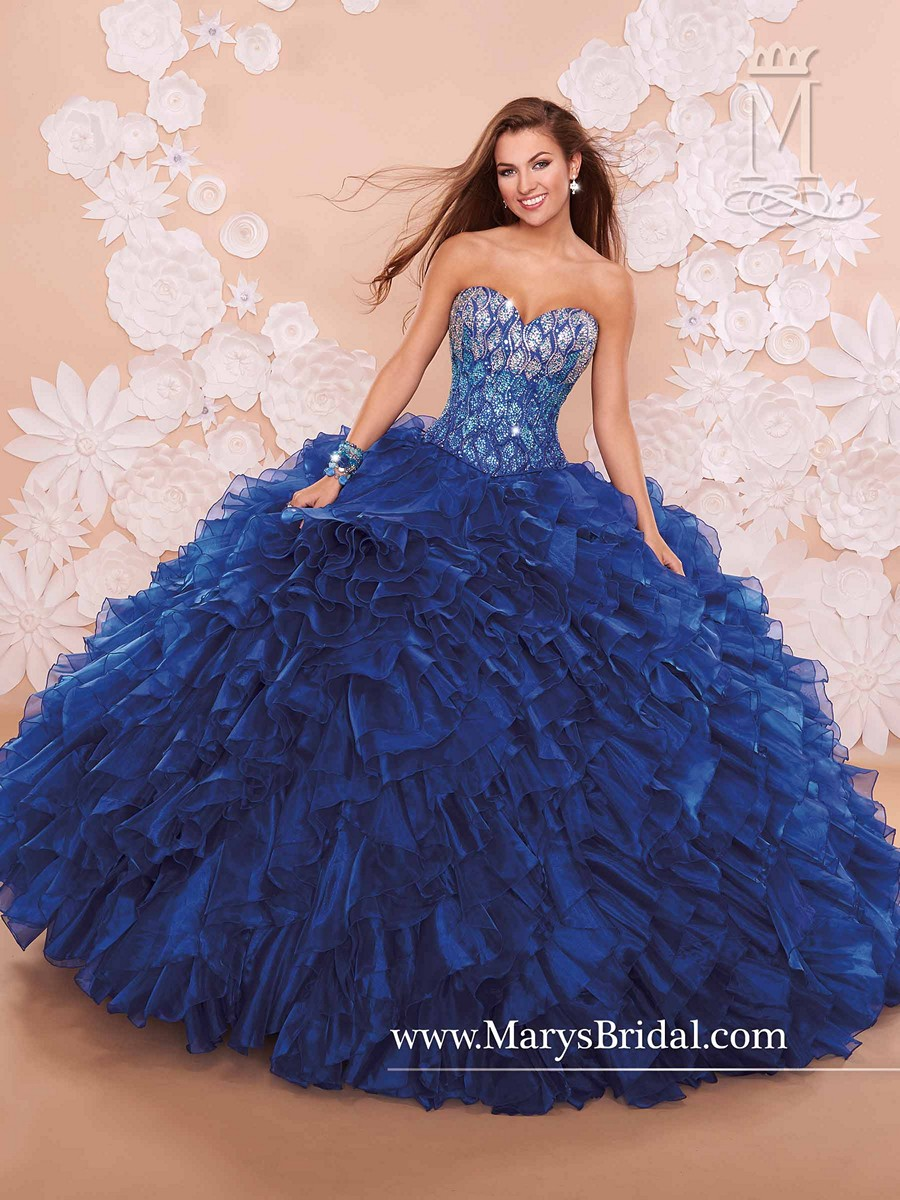 Marys Princess 4q379 Quinceanera Dress Strapless Lace Up Back