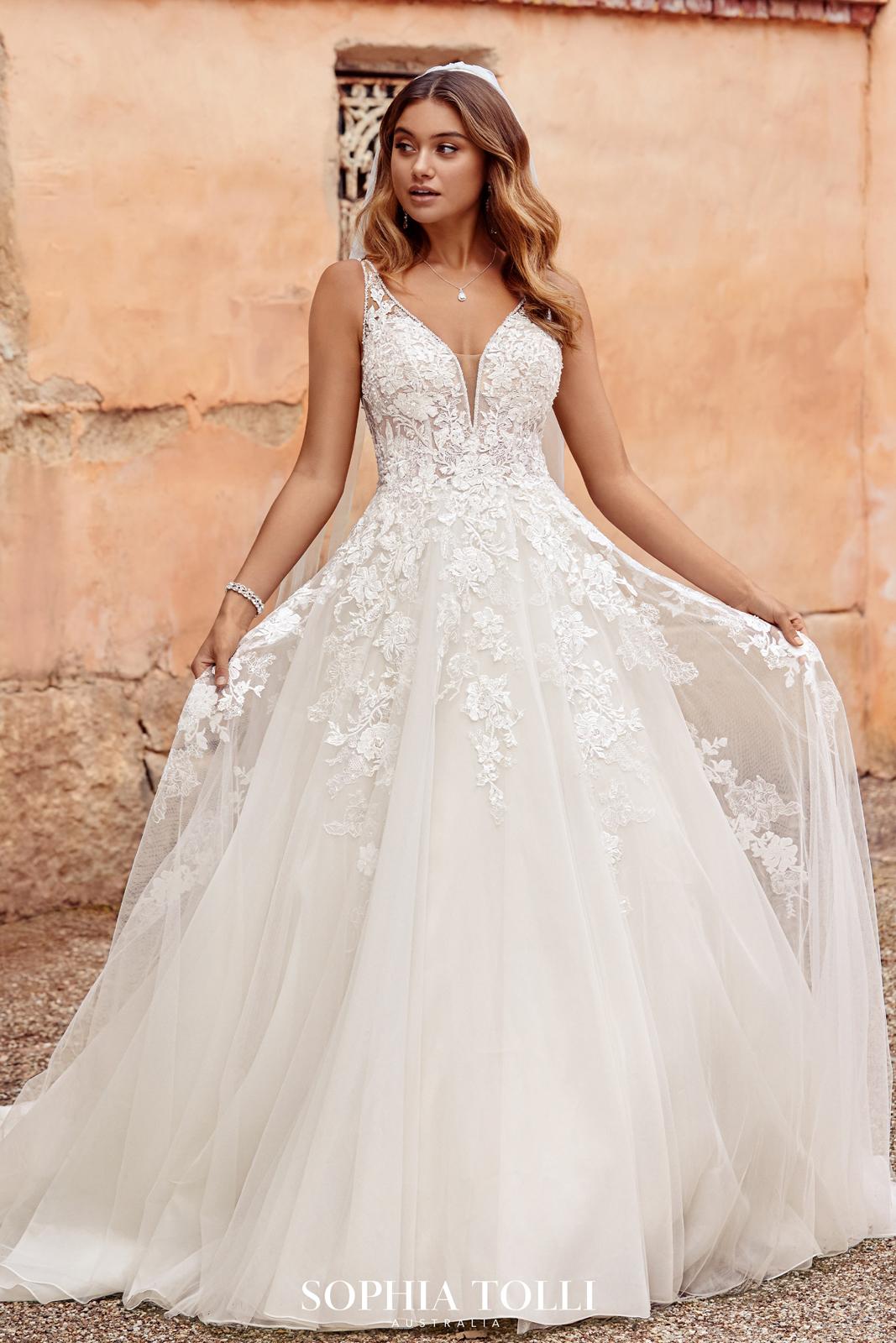 Sophia Tolli Y18 Evelyn Beaded V Neck Bridal Gown
