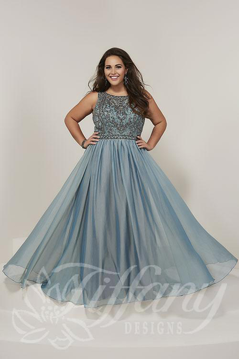 Tiffany Designs 16379 Cutout Back Plus Size Prom Gown