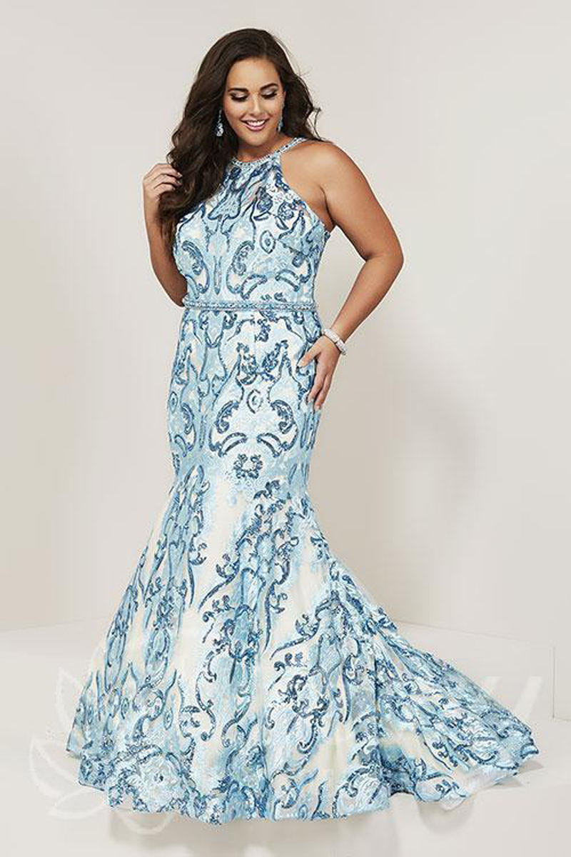 Tiffany Designs 16380 Halter Neck Plus Size Prom Gown